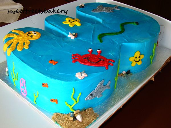 Giant Number 3 Under The Sea Beach Themed Birthday Cake With