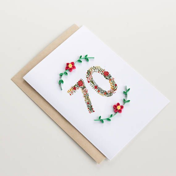 70th Happy Birthday Card Custom Age Card Made With 3d Papercraft Flowers Unique 70th Birthday Pres 60th Birthday Cards Cricut Birthday Cards 70th Birthday Card