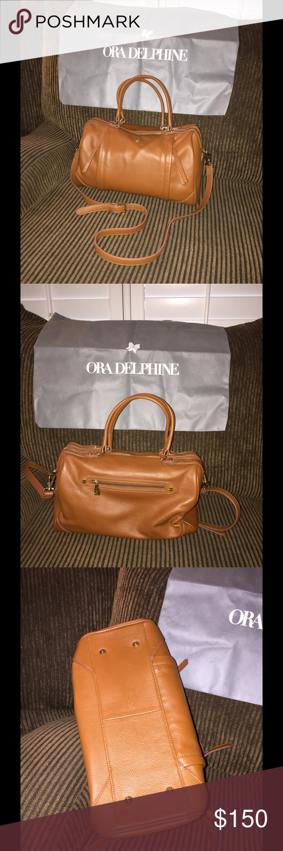 """Ora Delphine Satchel Soft Caramel colored leather bag. Used once, comes with dust bag and shoulder strap. Has gold tone hardware. Has 2 zip pockets on the front and 1 zip pocket on the back. Inside has 1 large zip pocket and 2 smaller pockets for cell, etc. 14"""" long x 8 1/2"""" tall x 4"""" across bottom. Handle drop of 5 1/2"""" and shoulder strap drop of 19"""". Comes from smoke-free home :) Ora Delphine Bags Satchels"""