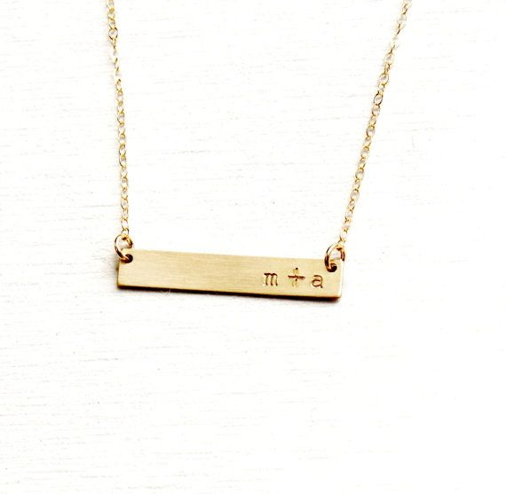 Gold Bar Necklace Gold Initial Necklace by TheSilverWren on Etsy