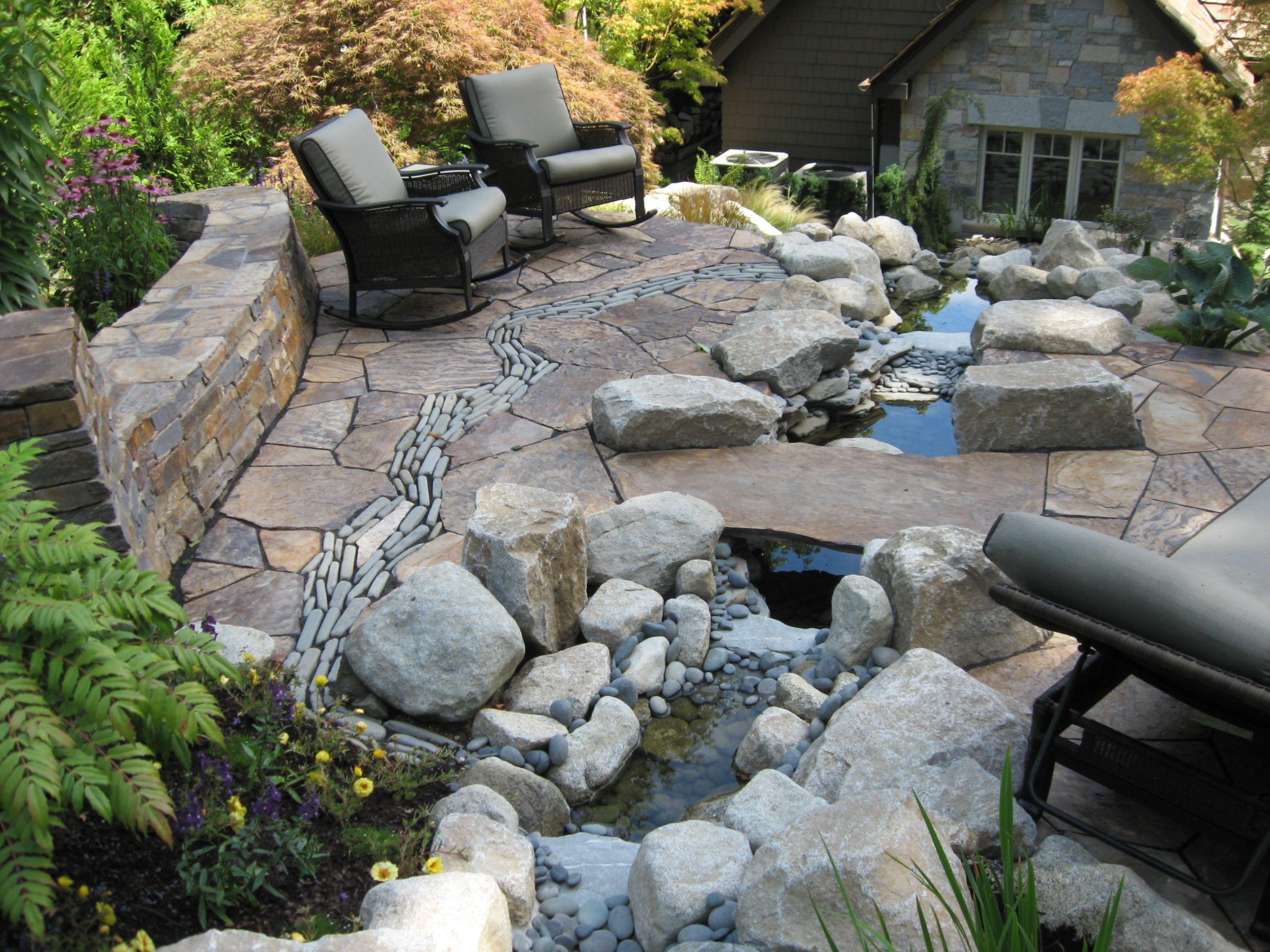river rock patio fire pit