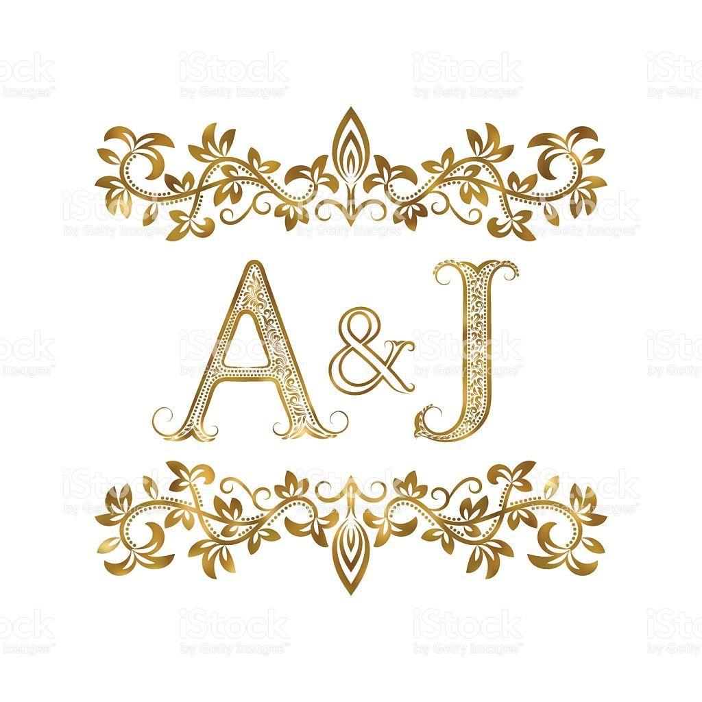 A J Vintage Initials Symbol Letters A J Ampersand Surrounded Wedding Initials Logo Wedding Logo Monogram Wedding Logo Design
