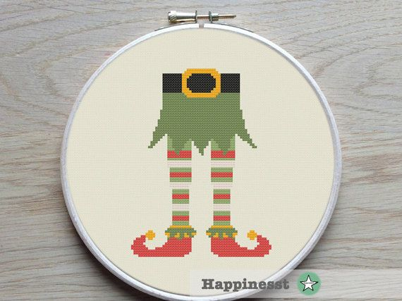 cross stitch pattern christmas elf elf feet modern por Happinesst