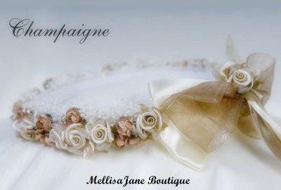Champagne/Ivory Flowered Headband