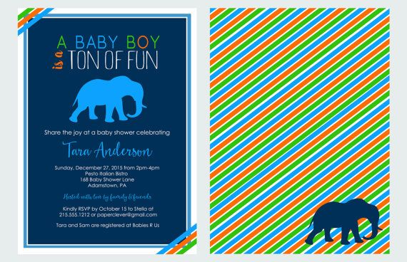Royal Baby Shower Invitation Elephant Baby by PaperCleverParty