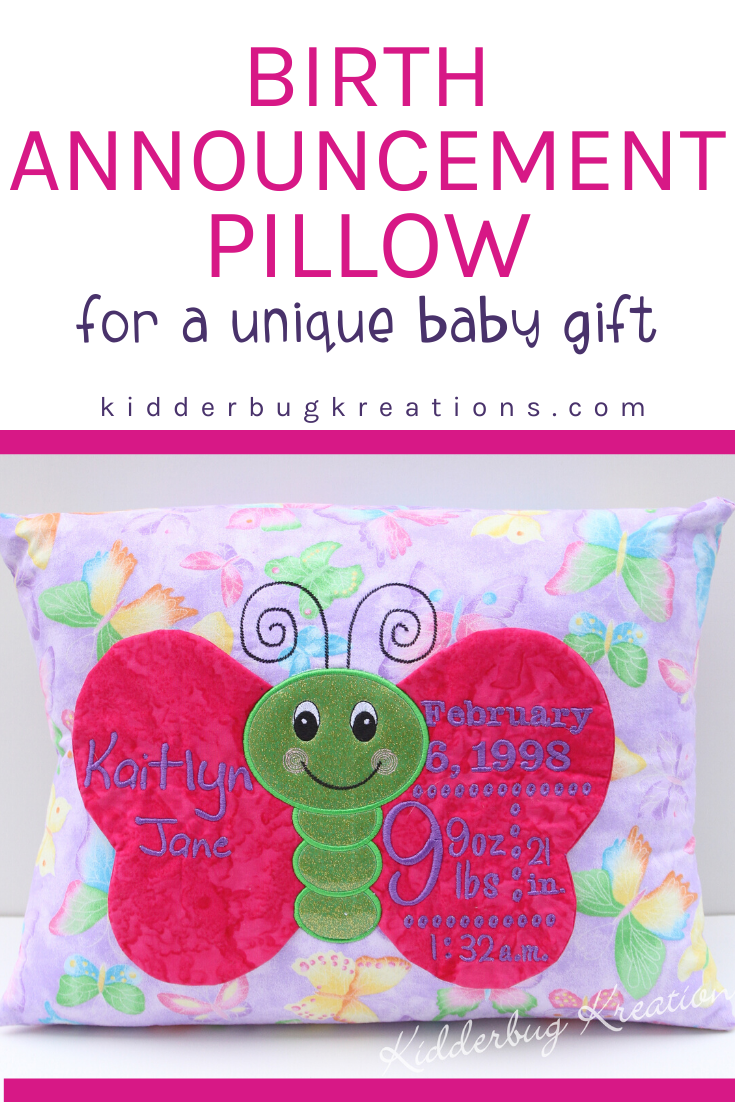 This sweet personalized and custom butterfly birth announcement pillow is the perfect gift idea for girls. A wonderful unique baby gift idea that will become a treasured keepsake.  Give a birth stats pillow as your next baby gift. Shop kidderbugkreations.com for lots of gift giving ideas. #kidderbugkreations #handcrafted #giftidea #personalized #customgifts #butterfly #birth #announcement #birthannouncement