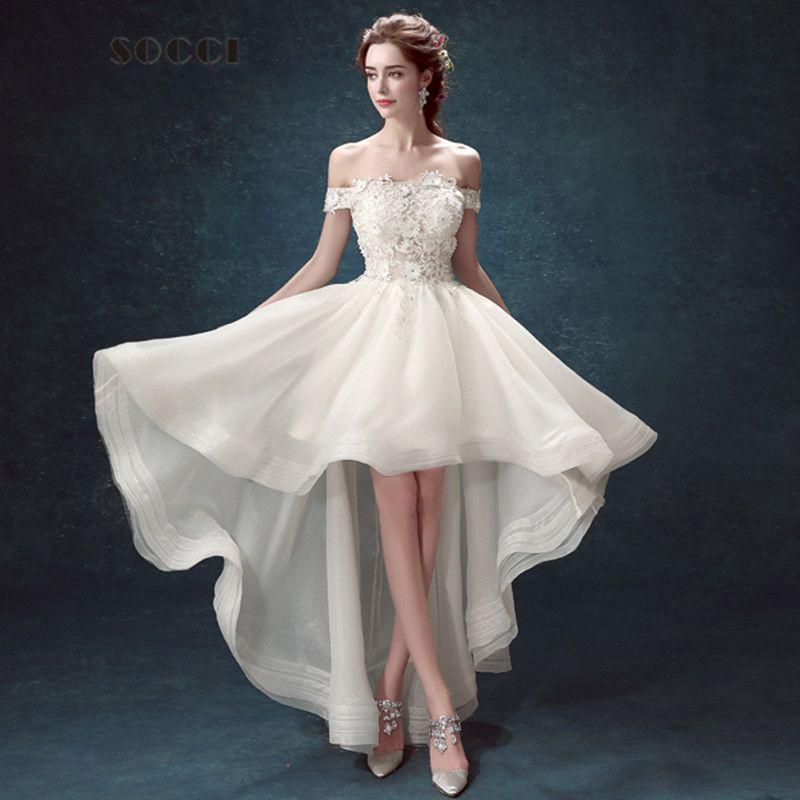 French Organza Boat Neck High/Low Wedding Dress