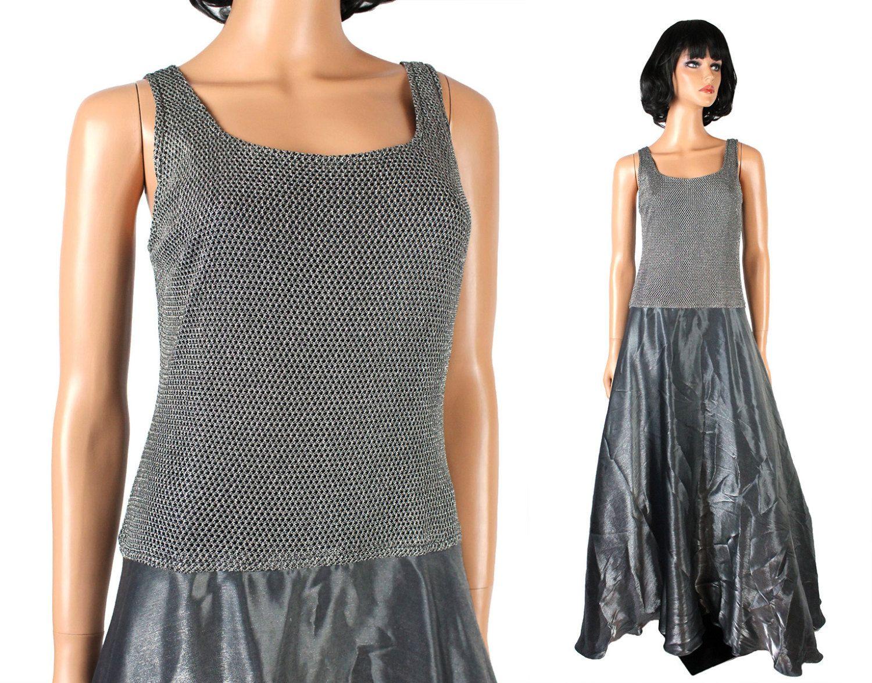 Vintage prom dress s m sleeveless stretch lace long shiny silver