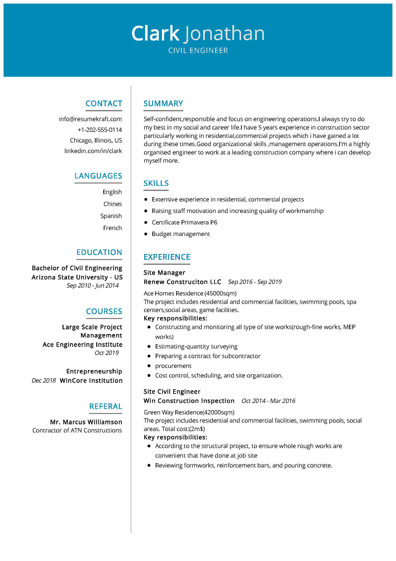 Civil Engineer Resume Civil engineer resume, Engineering