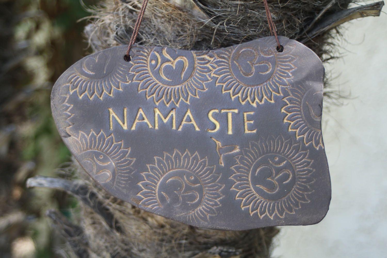 Namaste Sign Handmade Ceramic Hanging Sign Om Greeting Signs