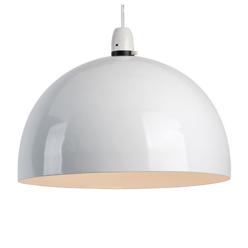 Large Metal Lamp Shade: Large Modern Gloss White Metal Retro Syle Dome Ceiling