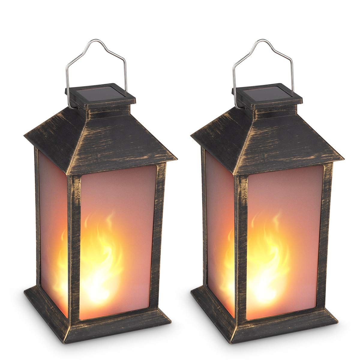 13 Vintage Style Solar Powered Candle Lantern Metallic Coating Black Plastic Solar Garden Lig In 2020 Solar Hanging Lanterns Solar Lights Garden Lantern Candle Decor