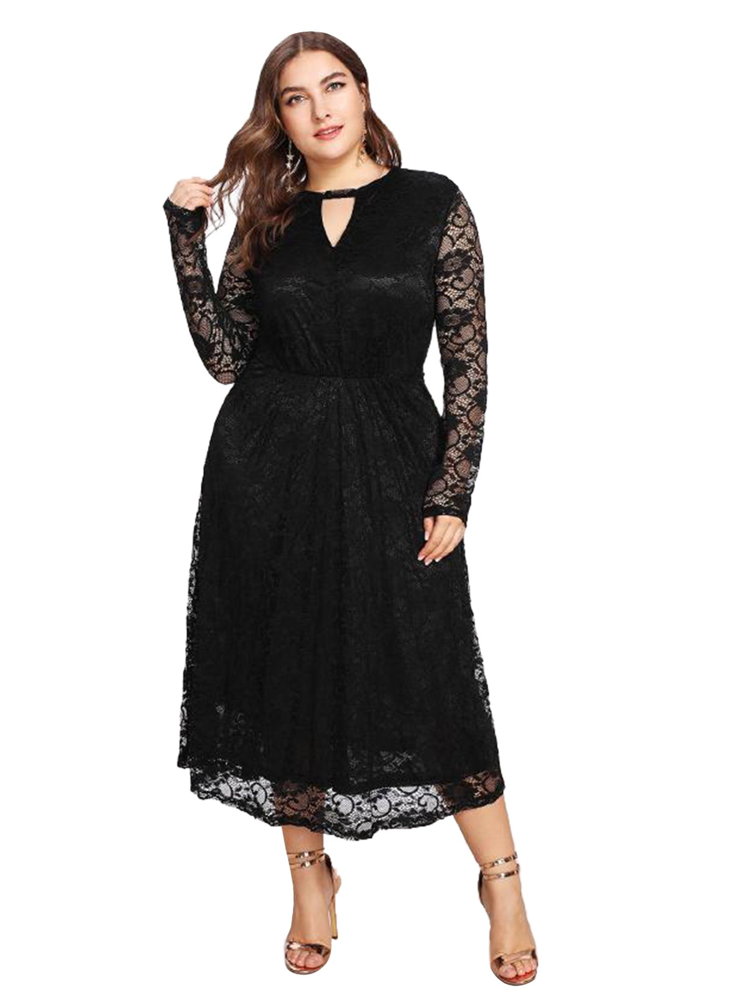 fc634c0c7dc1 ESPRLIA Women s Plus Size Lace Bridal Formal Skater Cocktail Dress ...