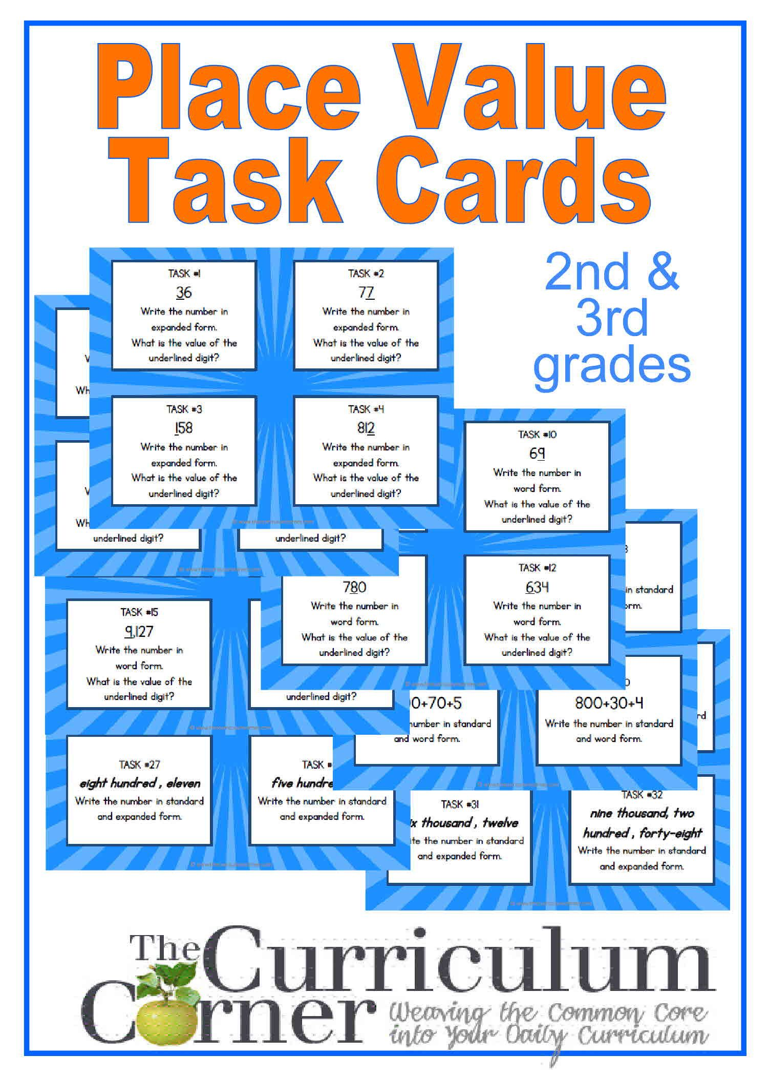 Place Value Task Cards For Primary Classrooms