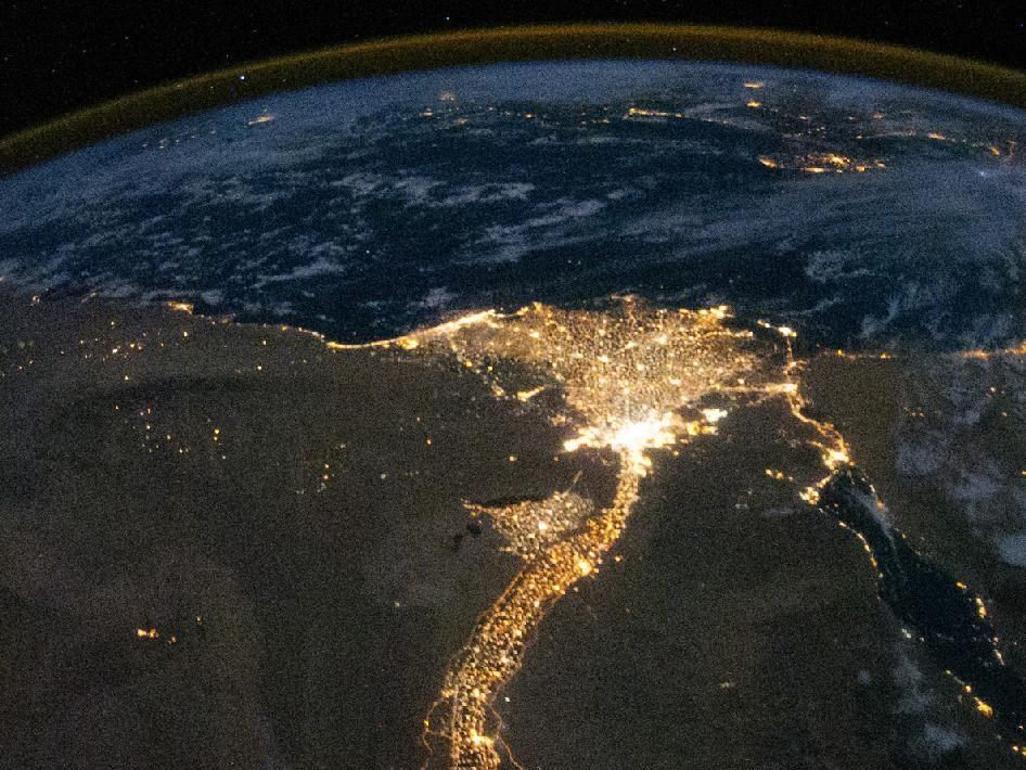 Nile River Delta at Night - Nasa