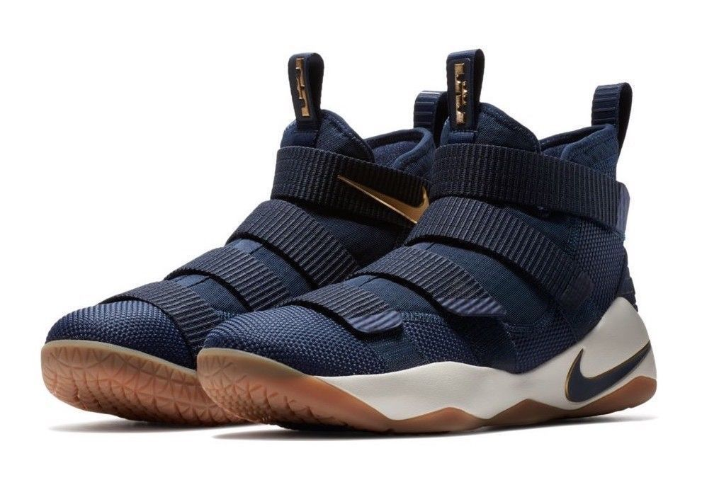 bbc5470e1346f Nike Lebron Soldier XI Mens Basketball Shoes Midnight Navy Metallic Gold   Nike  BasketballShoes
