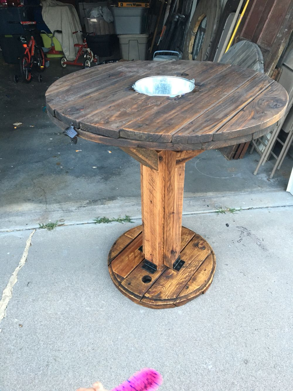 High Top Table Made From A Spool And Dunnage Spool Furniture Wooden Spool Tables Wood Spool