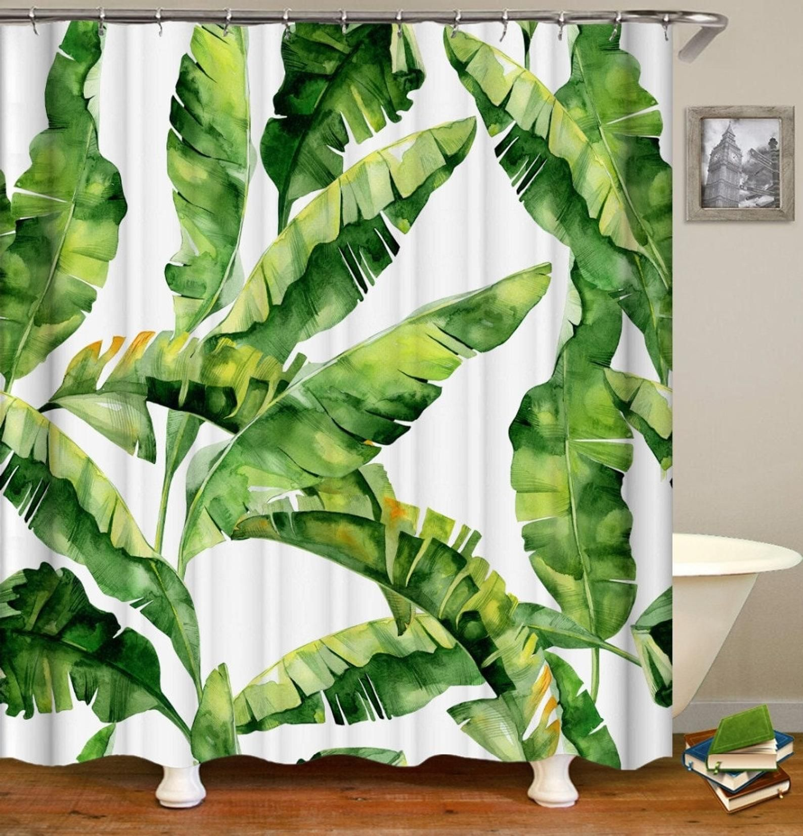Banana Leaves Shower Curtain Banana Leaf Tropical Shower Etsy