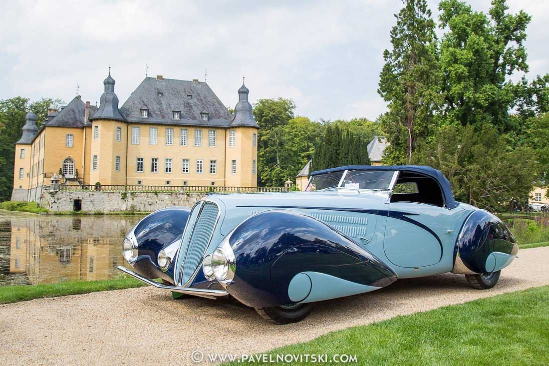 The Schloss Dyck Classic Days in Juchen, Germany, a well-established and high-caliber concours recognized by FIVA, was held last weekend at the historic site.This 1938 Delahaye 135 M Roadster from Mullin Automotive Museum and many other important cars were there. See it and more in our coverage today with images by Pavel Novitski at: http://theoldmotor.com/?p=125192