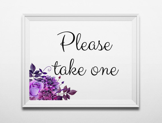 Please take one Purple wedding sign printable Digital download Boho