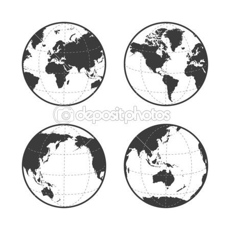 Globe earth vector icon set on white background u2014 Stock Illustration - fresh world map with all countries vector
