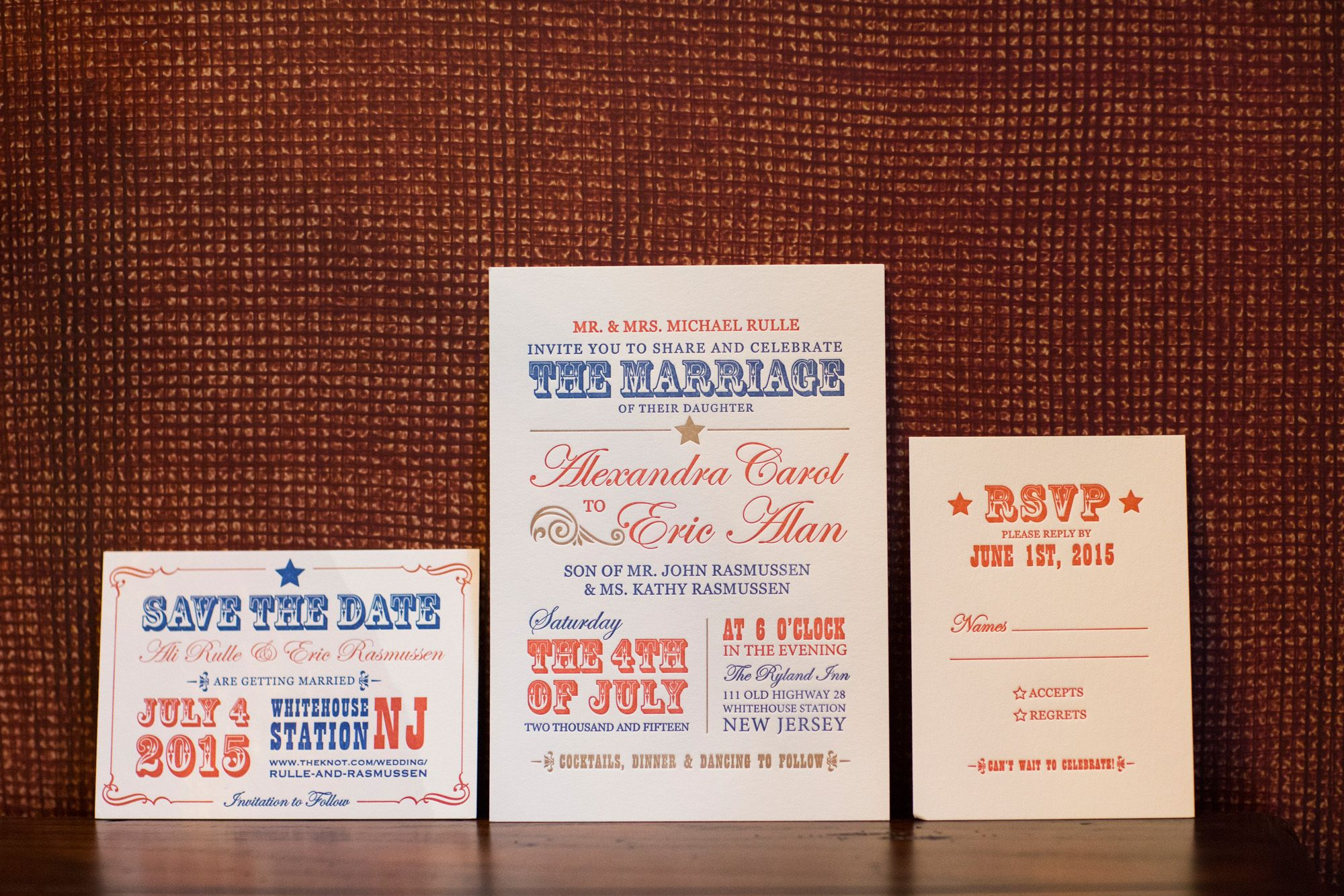 Red, White and Blue Wedding Invitation & Stationary | Photography ...