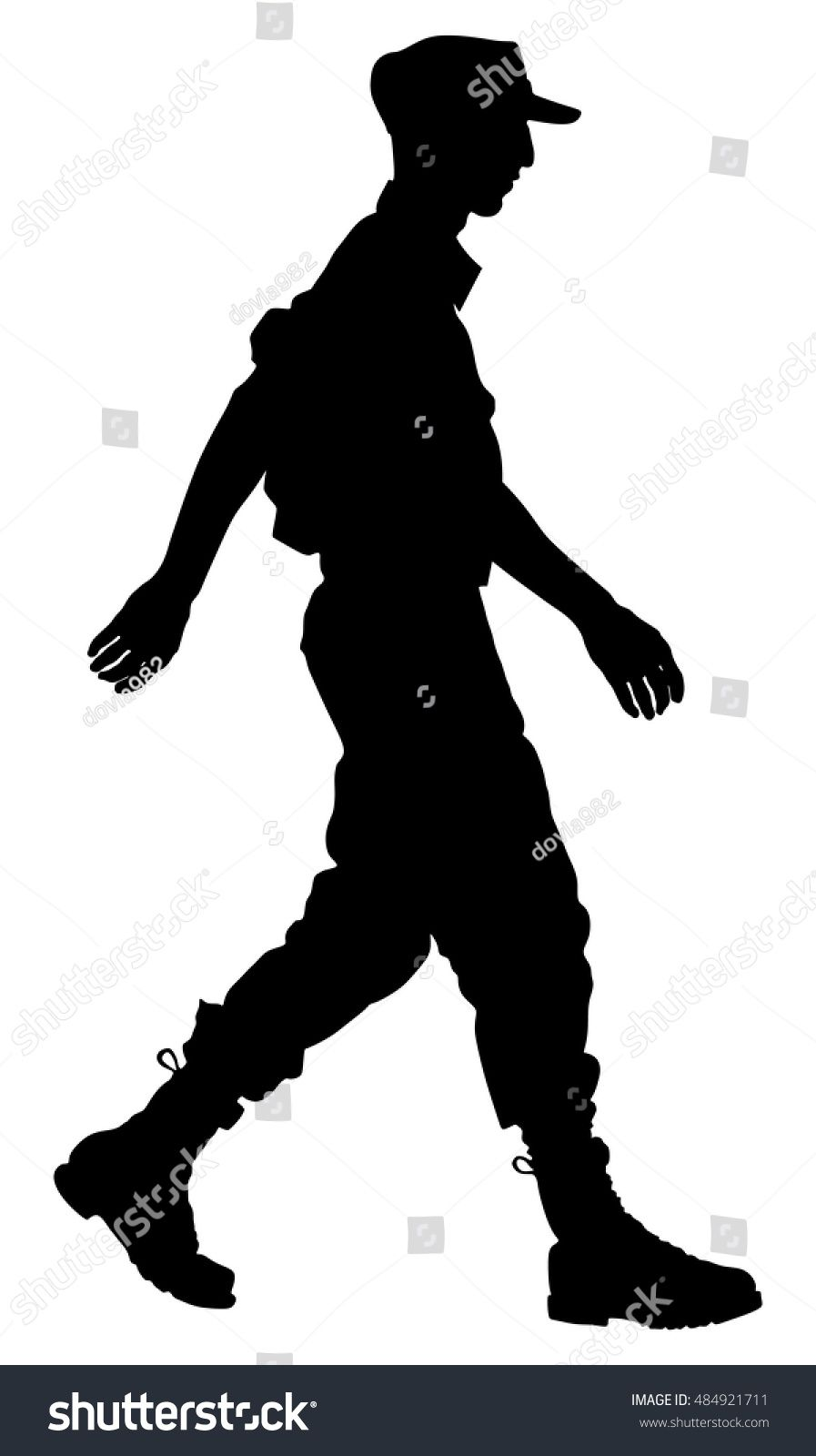 Army soldiers ceremony walking silhouette vector isolated