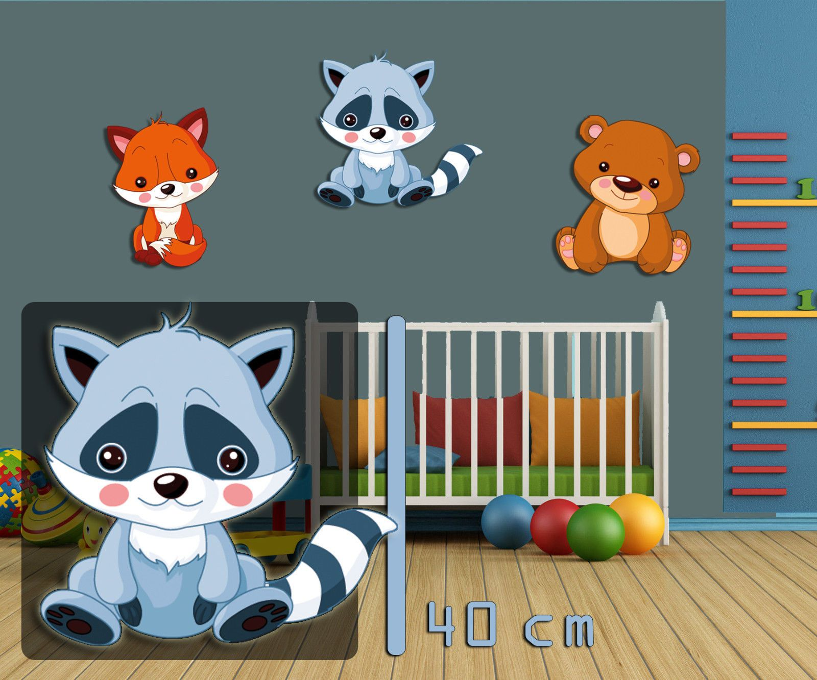 wandbild kinderzimmer waschb r 40 cm tiermotiv waldtier bild f r babyzimmer ebay homedecor. Black Bedroom Furniture Sets. Home Design Ideas