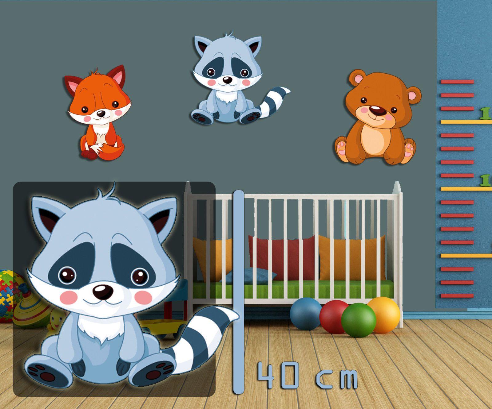 Wandbild Kinderzimmer Waschbär 40 cm, Tiermotiv Waldtier