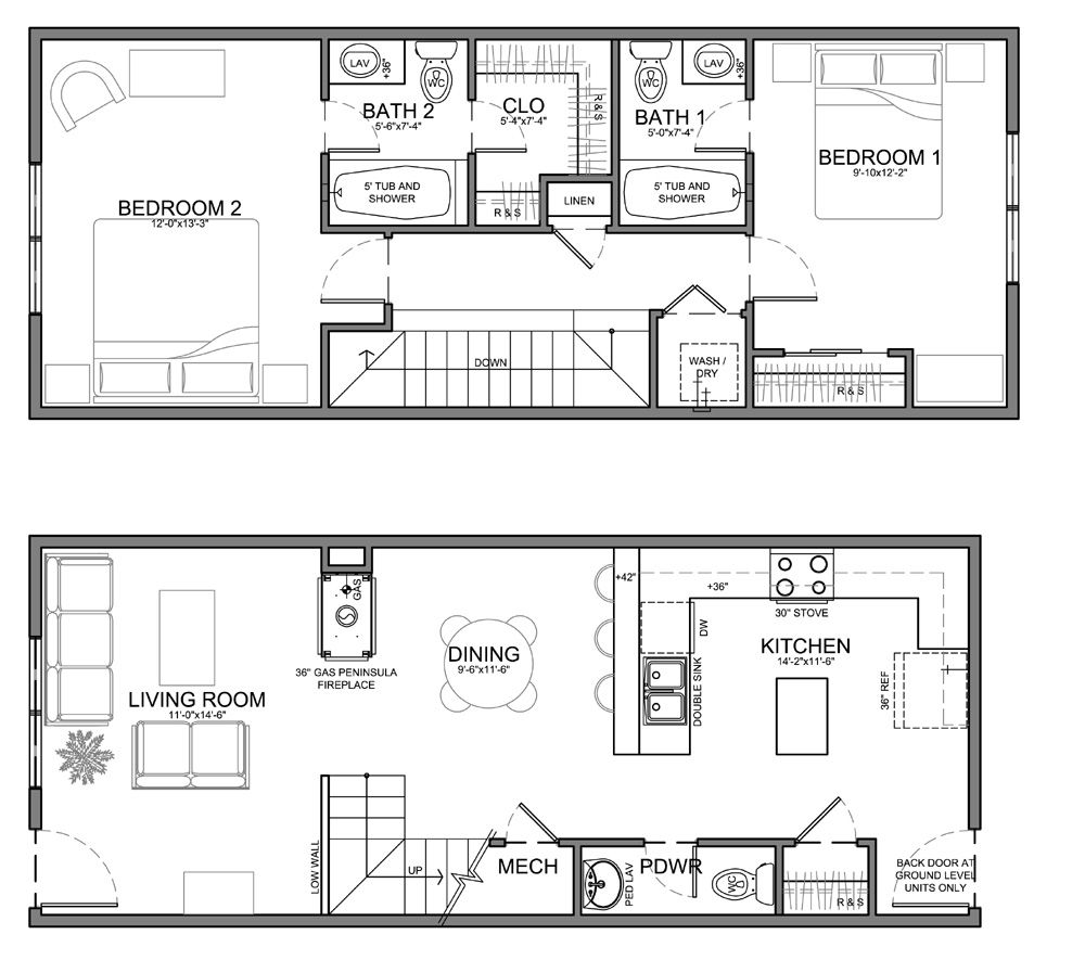 Small skinny house plans this unit is about the same for Long narrow office layout