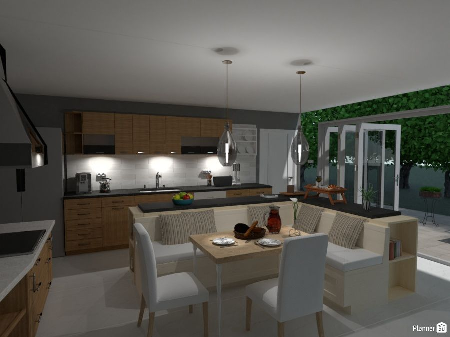 Kitchen And Dining Room Interior Planner 5d Dining Room Interiors Home Planner Kitchen Planner