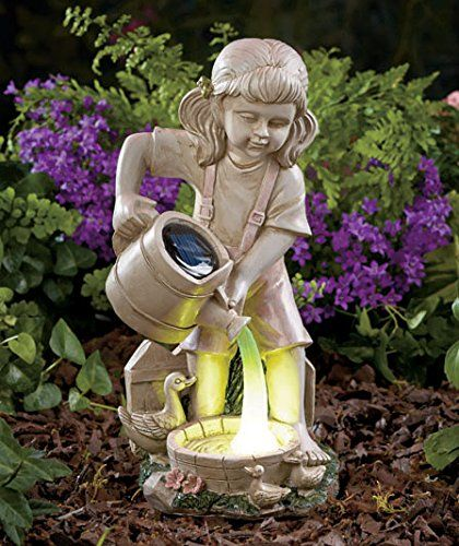Girl Child with Ducks and Solar Watering Can Garden Yard Statue