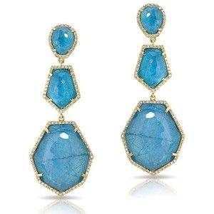 14KT Yellow Gold Blue Apatite Diamond Triple Drop Earrings
