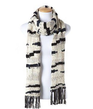 Knitted scarf black print - Promod