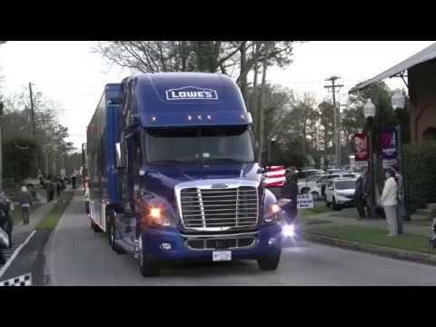 nascar haulers rolling in to daytona 2017 - YouTube