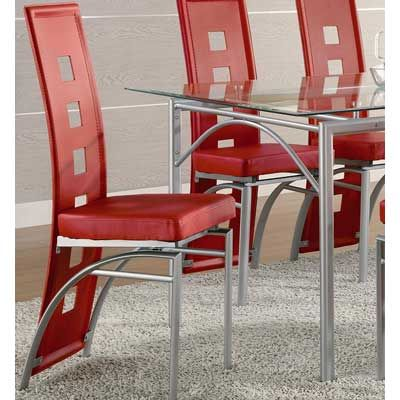 Coaster Set Of 2 Dining Chairs Red Leather Like Metal Legs  Top Stunning Dining Room Chairs Red Decorating Inspiration