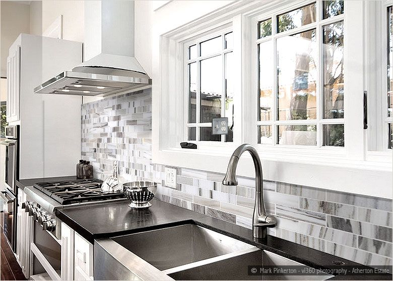 Best Ba1034 Marble White Kitchen Backsplash Black 400 x 300