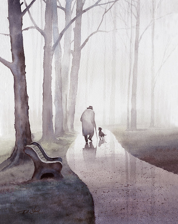 Groovy Walk In The Park Art Print Of Watercolor Painting Old Man Gmtry Best Dining Table And Chair Ideas Images Gmtryco