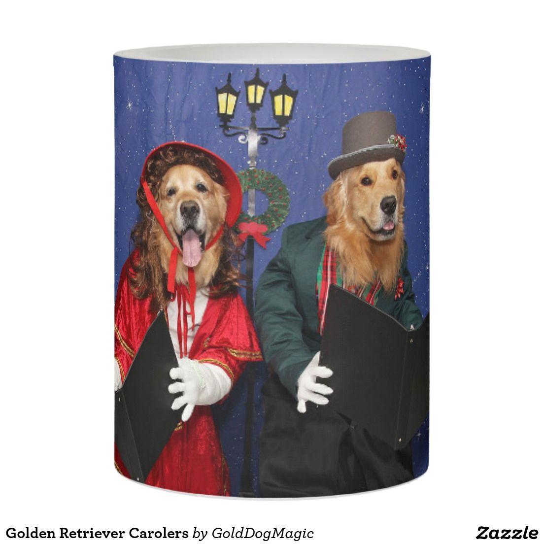 Golden Retriever Carolers Flameless Candle