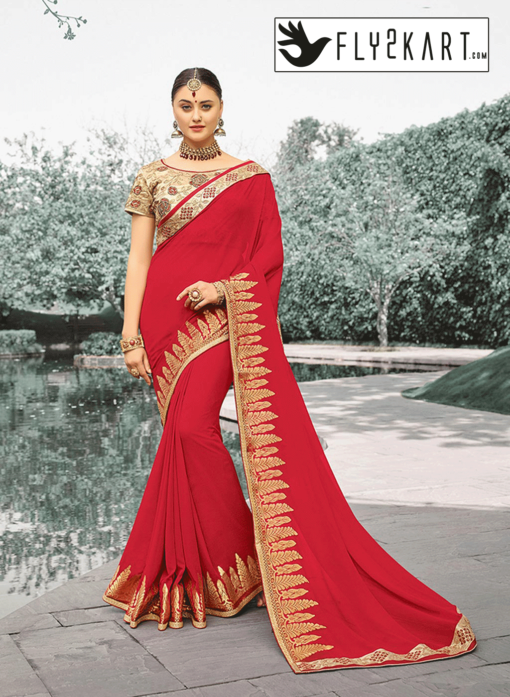 Red and Cream embroidery Saree http://www.fly2kart.com/red-and-cream ...