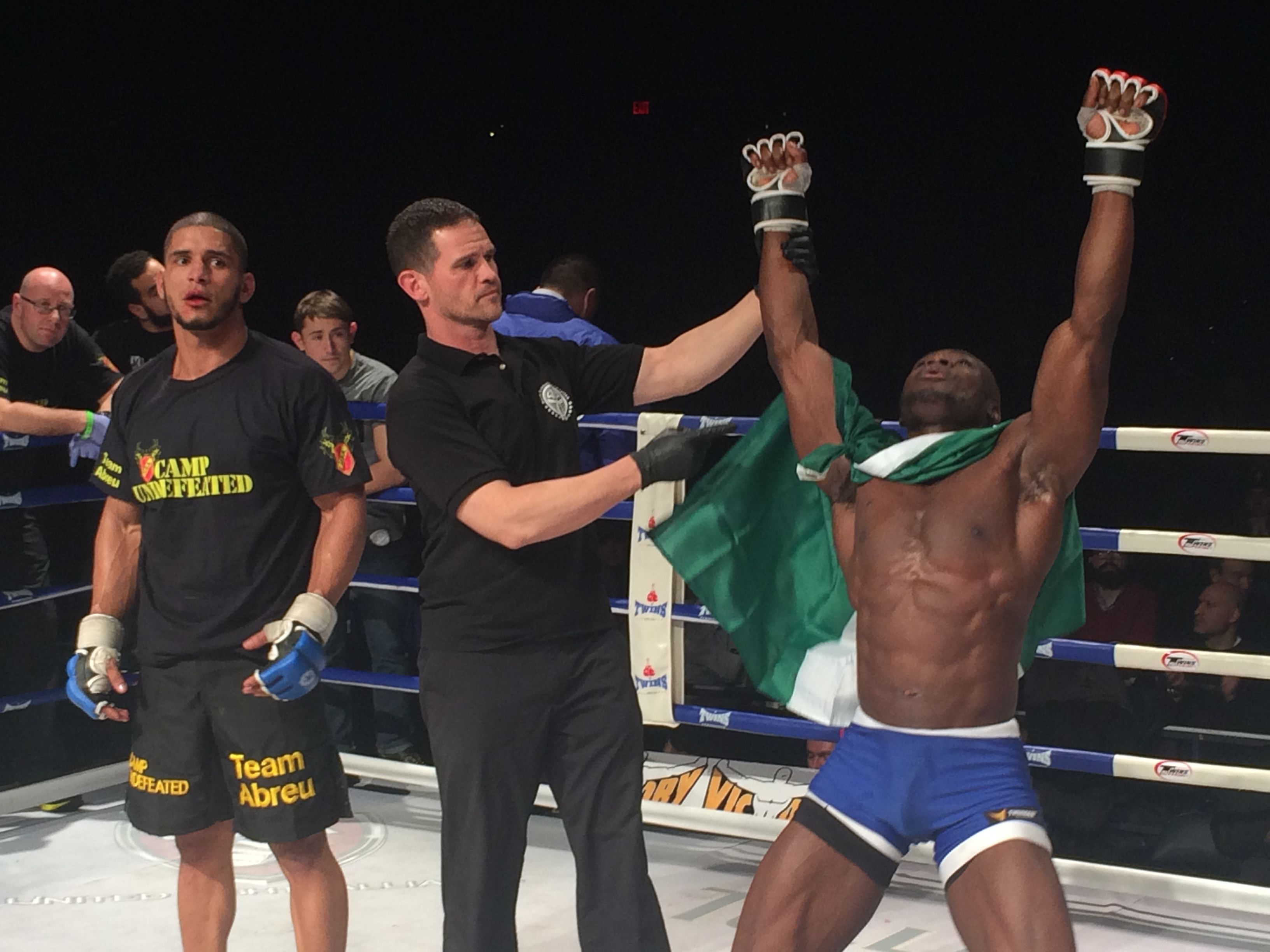 Class One Fighter Chike Obi Getting His Hand Raised After His 3rd Tko Victory At The First Mma Show At Madison Square Garden Mixed Martial Arts Mma Martial