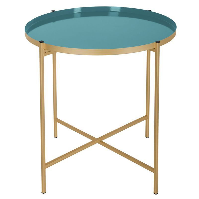 Table A Cafe Kylian Bleu Canard Et Dore Table Cafe Table Basse
