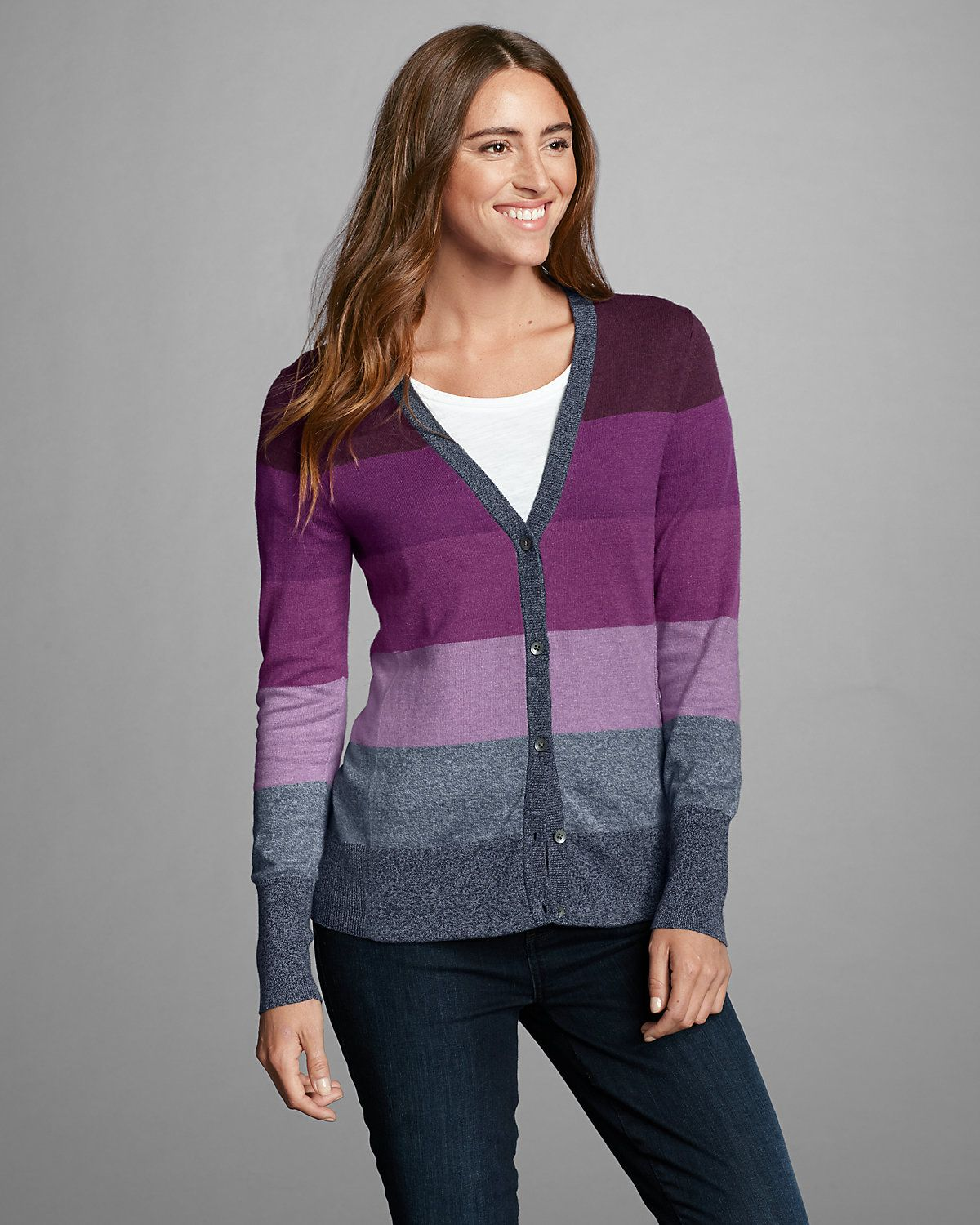 Women's Christine V-neck Cardigan Sweater - Stripe | Eddie Bauer ...