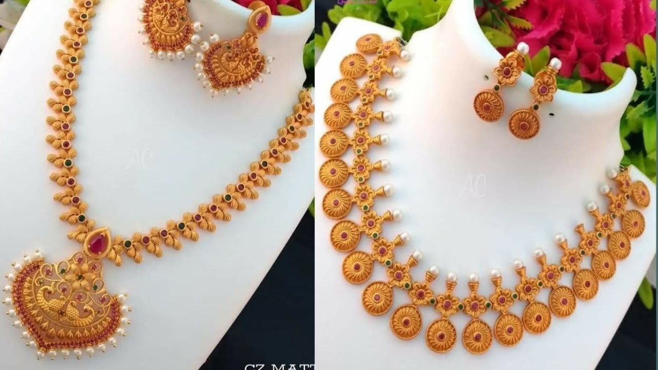 Latest Light Weight Gold Necklace Designs L Latest Light Weight Gold Nec Gold Bridal Necklace Bridal Necklace Designs Bridal Necklace Set