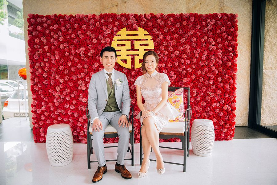 Traditional Chinese wedding tea ceremony with bride in a light pink cheongsam from Vega Tailoring & Dressmaking and groom in his light grey suit // Jonathan ...