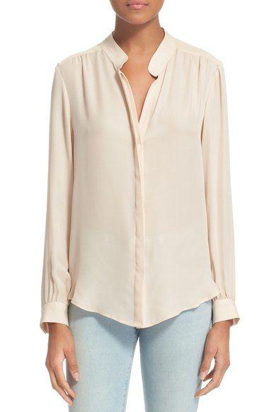 917de003d5b1c2 L'AGENCE 'Bianca' Band Collar Silk Blouse. #lagence #cloth ...