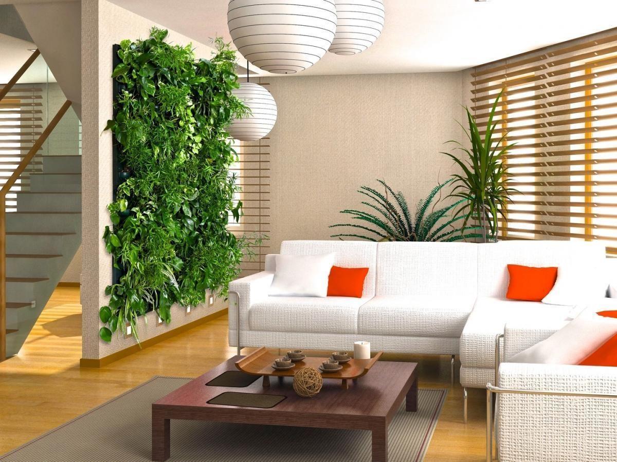amusing living room | Amusing vertical garden modern design on the wall beside ...