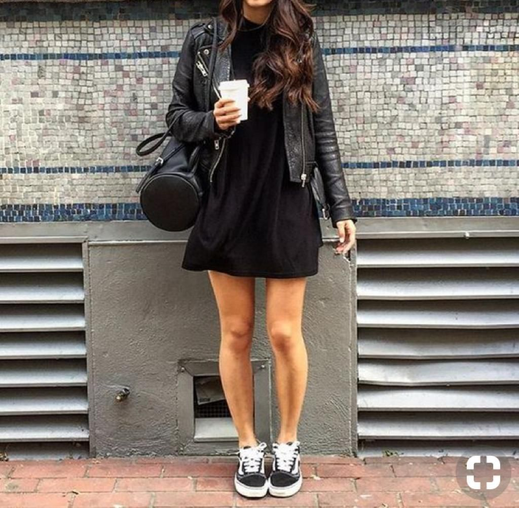 All Black Dresses With Vans Black Dresses Casual Old Skool Outfit [ 1003 x 1024 Pixel ]