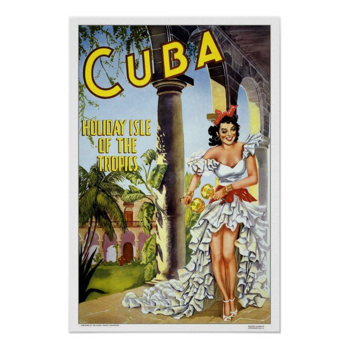 Vintage travelCuba Poster - tap/click to personalize and buy #Poster  #vintage #retro #classic #travel #caribbean