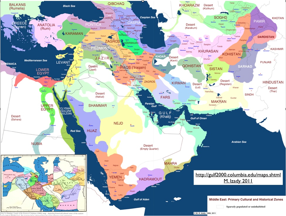 Primary cultural and historical zones of the Middle East Maps